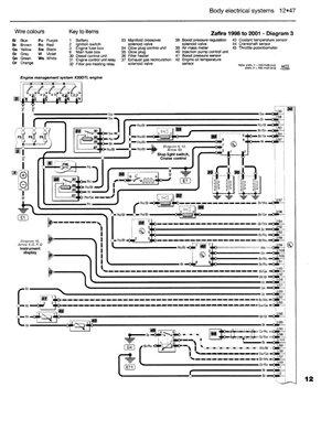 opel zafira электросхема