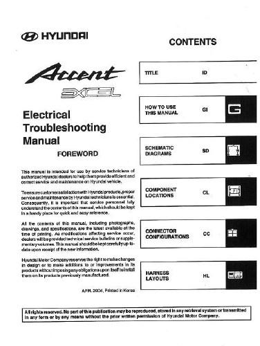 Схемы электрооборудования автомобиля Hyundai Accent 2005 года выпуска.  Руководство содержит электрические схемы...